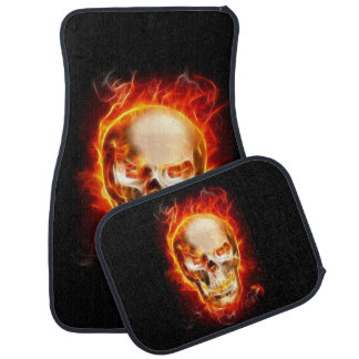 Skull On Fire #2 Floor Mat