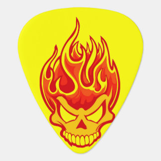 Skull On Fire Bright Yellow Plectrum