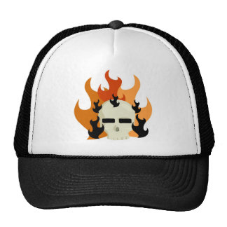 SKULL ON FIRE GRAPHIC PRINT HATS