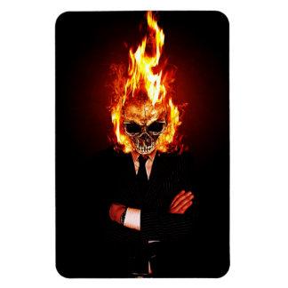 Skull on fire rectangle magnet
