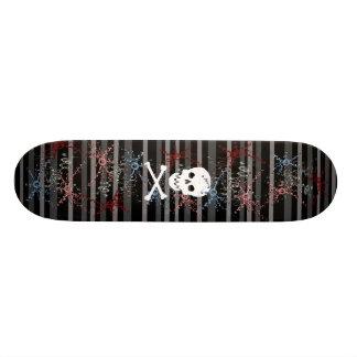 Skull on Stripes Skateboard