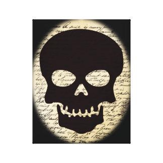 Skull on Vintage Text Canvas Canvas Print