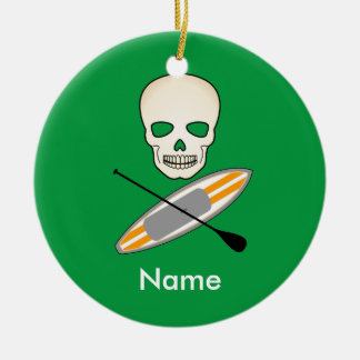 Skull & Paddleboard Ceramic Ornament