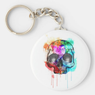 Skull Paint Splatter Key Ring