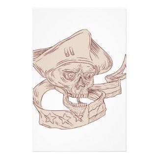 Skull Patriot Ribbon Flag Drawing Custom Stationery