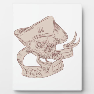 Skull Patriot Ribbon Flag Drawing Plaque