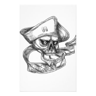 Skull Patriot USA Flag Ribbon Tattoo Customised Stationery