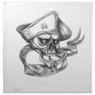 Skull Patriot USA Flag Ribbon Tattoo Napkin