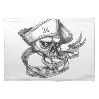 Skull Patriot USA Flag Ribbon Tattoo Placemat