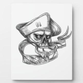 Skull Patriot USA Flag Ribbon Tattoo Plaque