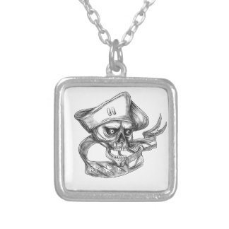 Skull Patriot USA Flag Ribbon Tattoo Silver Plated Necklace