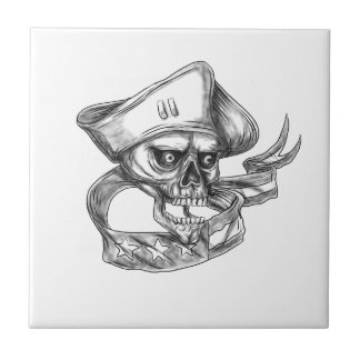 Skull Patriot USA Flag Ribbon Tattoo Tile