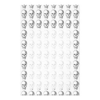 Skull Pattern. Black and White. Custom Stationery
