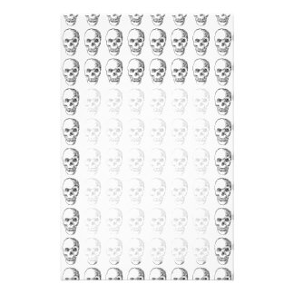 Skull Pattern. Black and White. Stationery Paper