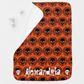 Skull Pattern Fancy Halloween Goth Any Color Receiving Blankets