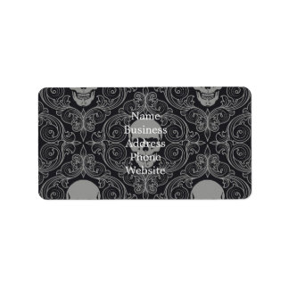 Skull Pattern Gray and black Texture Gothic Floral Address Label