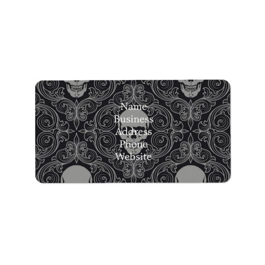 Skull Pattern Grey and black Texture Gothic Floral Address Label