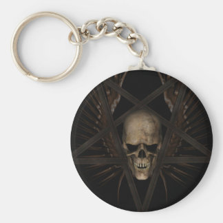 Skull Pentacle Basic Round Button Key Ring