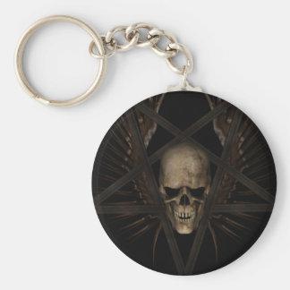 Skull Pentacle Basic Round Button Key Ring