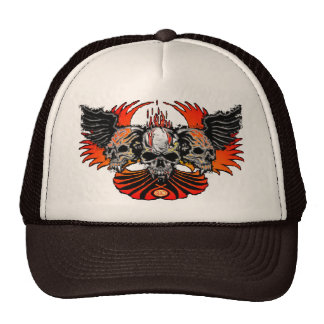 Skull Phoenix white, Trinity Winged Skulls Hats