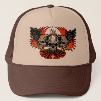 Skull Phoenix white, Trinity Winged Skulls Trucker Hat