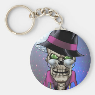 Skull Pimp with Hat, Glasses, Gold Chain and Disco Key Ring