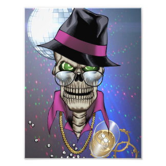 Skull Pimp with Hat, Glasses, Gold Chain and Disco Photo Art