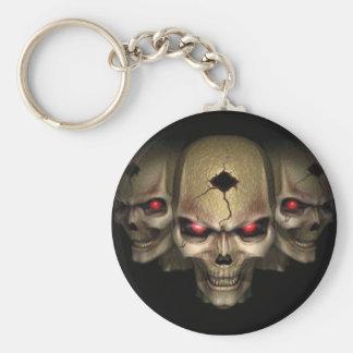 skull pin basic round button key ring