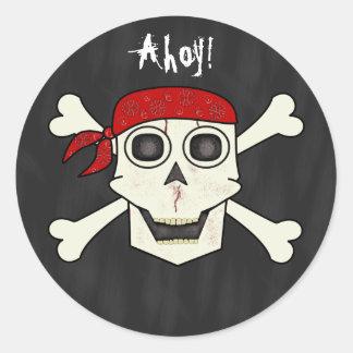 Skull Pirate Envelope Seal Round Sticker