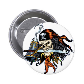Skull Pirate with Sword and Hook by Al Rio 6 Cm Round Badge