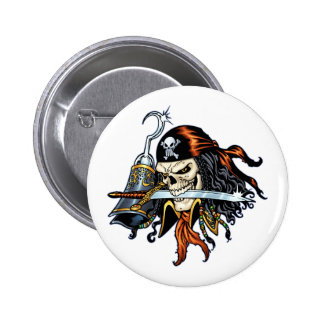 Skull Pirate with Sword and Hook by Al Rio Pin