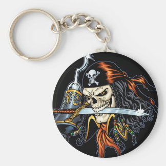 Skull Pirate with Sword and Hook by Al Rio Basic Round Button Key Ring
