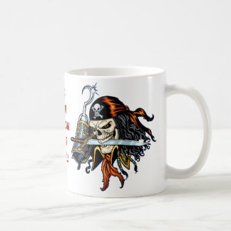 Skull Pirate with Sword and Hook by Al Rio Basic White Mug