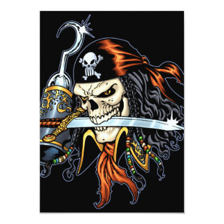 """Skull Pirate with Sword and Hook by Al Rio 5"""" X 7"""" Invitation Card"""
