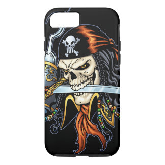 Skull Pirate with Sword and Hook by Al Rio iPhone 7 Case