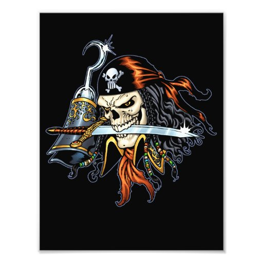 Skull Pirate with Sword and Hook by Al Rio Photo Art