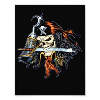 Skull Pirate with Sword and Hook by Al Rio Photographic Print