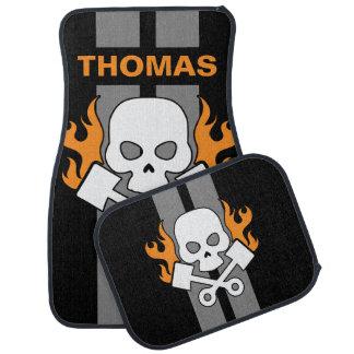 Skull Pistons Flames Grey Race Stripe Personalised Car Mat