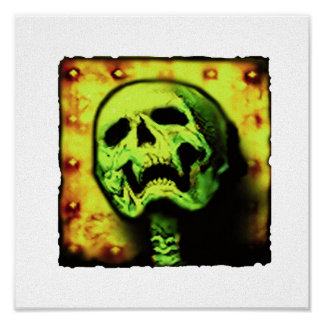 skull plate canvas with black border poster