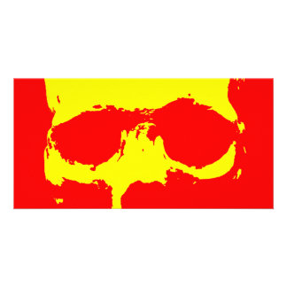 Skull Pop Art - Red & Yellow Photo Greeting Card