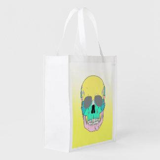 SKULL (POP ART STYLE) Reusable Grocery Bag