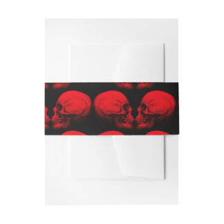 Skull Profile X2 Red Invitation Belly Band