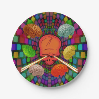 Skull Psychedelic Paper Plate