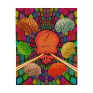 Skull Psychedelic Wood Print