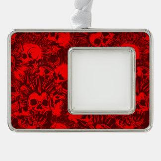 skull punk silver plated framed ornament