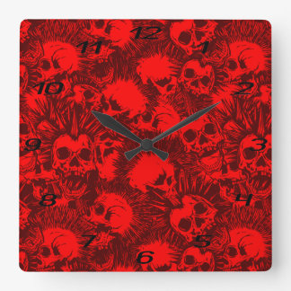 skull punk square wall clock