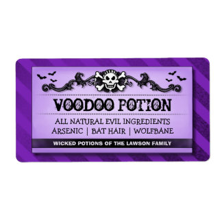 Skull Purple Stripe Custom Drink or Treat Labels