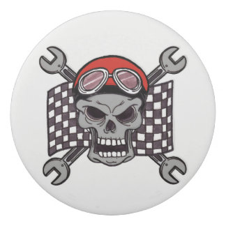 Skull Racing Flag Large Round Eraser
