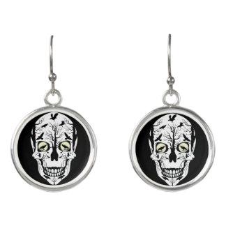 Skull & Ravens Earrings - Day of Dead Jewelry