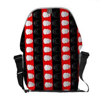 skull red and black courier bags